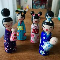 Somewhat Handmade Kokeshi Dolls