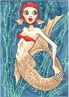 Mermaid in swim cap