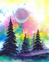 "Original Watercolor - ""Crescent Pines"""