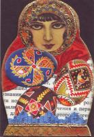 Pysanka theme Matroyshka shaped atcs
