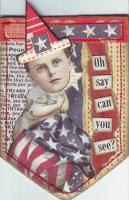 Vintage USA Patriotic Banner shaped ATCs Swap
