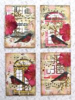 """""""Birds and Blooms"""" #1 thru #4"""