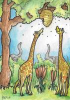 Giraffes play with Bees...