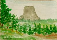 watercolor landscapes-Devil's Tower, WY II