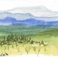 Miniature Watercolor Mountain Meadow Paintings