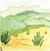 Miniature Watercolor Cactus...