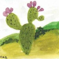 Miniature Watercolor Cactus Paintings