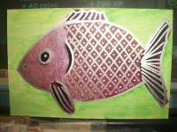 metallic pink fish postcard