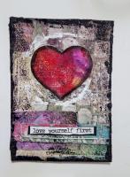 Mixed Media Colorful Hearts + Positivity