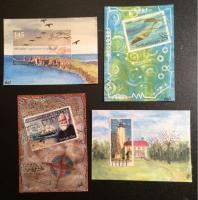 Nautical postage stamp ATCs