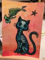 Dark Blue DotD Cat and Fish