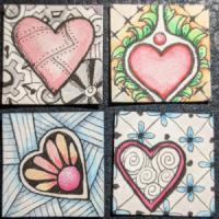 Zentangle Heart Inchie swap