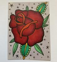 Rose with zentangle