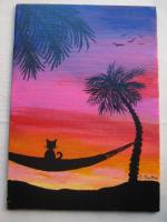 """""""Buddy Viewing Sunset"""" for June 5x7 Canvas Board Mail Art..."""