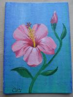 """Pink Hibiscus"" for May 5x7 Canvas Board Trade"