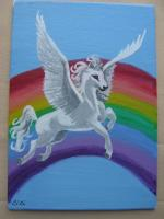 """Pegasus"" for July 5x7 Canvas Board Mail Art trade"