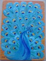 """Peacock"" for 5x7 canvas mail art trade"