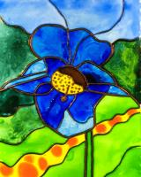 Himalayan Poppy Faux Stained Glass