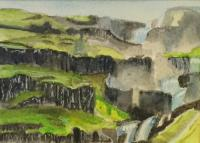 Brekkufossar (big waterfall) in Iceland