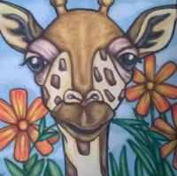 Giraffe and Flowers