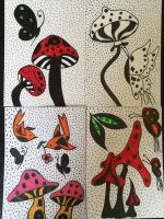 whimisical mushrooms and butterflys