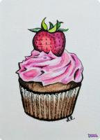 Strawberry Cupcake ATC
