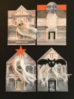 haunted house swap - house shaped atc's