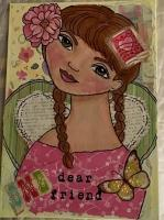 Dear Friend - mixed media 5 x 7 canvas board