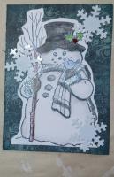 dark blue snowman