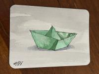 Green paper boat