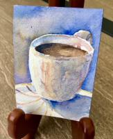Watercolor coffee cards (on...