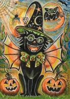Halloween Vintage Cat and...