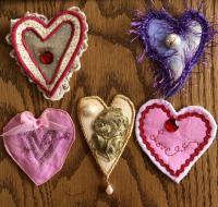 Fiber art hearts