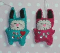 Felt Mini Kawaii Bunny Rabbits Christmas ornaments.