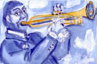 Louis Armstrong in Picasso Blue period style
