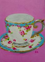 Teacup 5x7 canvas panel
