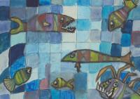 After Paul Klee - fish on blue