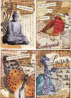 ATCs for the Text and collage swap